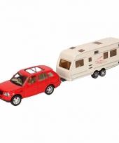 Speelgoed rode land rover auto met caravan 1 48