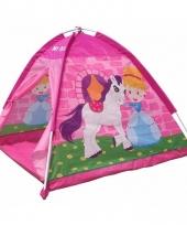 Speelgoed tentje pony en prinses roze