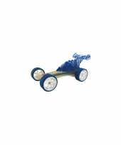 Speelgoedvoertuigen donkerblauwe bamboe raceautos 8 cm
