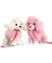 Staande roze poedel knuffel 30cm