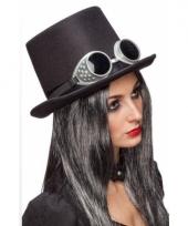 Steampunk hoed zwart met bril