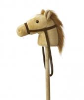 Stokpaard beige pony pluche 94 cm