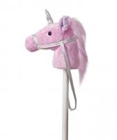 Stokpaard roze eenhoorn pluche 94 cm