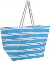 Strandtas blauw met witte strepen