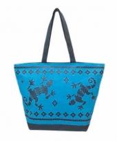 Strandtas gekko blauw donkerblauw 58 cm