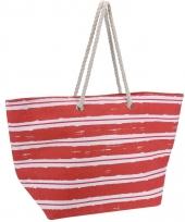 Strandtas rood met witte strepen