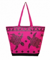 Strandtas turtle roze zwart 58 cm