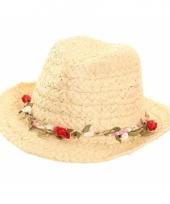 Stro hoedje voor dames rozenrandje