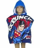 Superman kinderponcho met blauwe capuchon