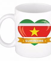 Surinaamse vlag hartje koffiemok 300 ml