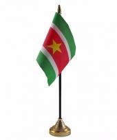 Suriname tafelvlaggetje 10 x 15 cm met standaard