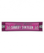 Sweet 16 spandoek leeftijdsversiering 180 cm