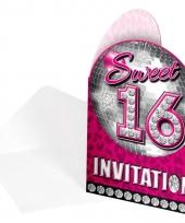 Sweet 16 uitnodigingskaarten 8 stuks