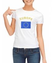 T shirt met europese vlag print voor dames