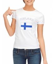 T shirt met finse vlag print voor dames