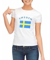 T shirt met zweedse vlag print voor dames
