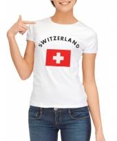 T shirt met zwitserse vlag print voor dames