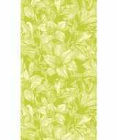 Tafellaken tafelkleed met bloemen lelie print lime 138 x 220 cm