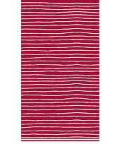 Tafellaken tafelkleed rood witte strepen 138 x 220 cm