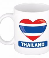 Thaise vlag hartje koffiemok 300 ml