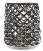 Theelichthouder zilver met uitsnede