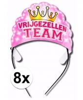Tiara vrijgezellen team roze 8 stuks