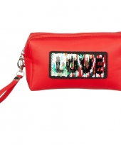 Toilettas make up etui love rood 21 cm