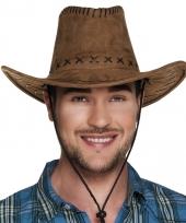 Toppers bruine cowboyhoed elroy lederlook voor volwassenen