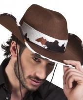 Toppers bruine cowboyhoed texas koeienprint voor volwassenen