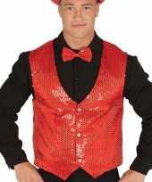 Toppers rode verkleed gilet met pailletten voor heren