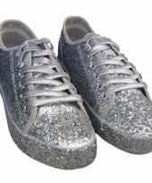 Toppers zilveren glitter disco sneakers schoenen voor dames