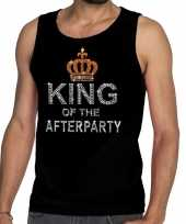 Toppers zwart toppers king of the afterparty glitter tanktop shirt heren
