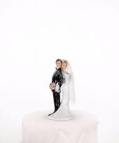 Trouwfiguurtje bruidspaar bloemen