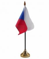 Tsjechie tafelvlaggetje 10 x 15 cm met standaard