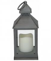 Tuindecoratie lantaarn grijs met led kaars 24 cm
