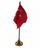 Turkije tafelvlaggetje 10 x 15 cm met standaard