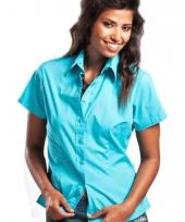 Turkoois katoenen overhemd met korte mouwen voor dames
