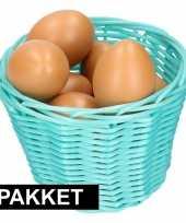 Turquoise paasmandje met eieren naturel 14 cm