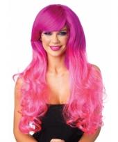 Tweekleurige roze pruik voor dames