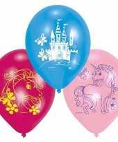 Unicorn feest versiering ballonnen set van 12x stuks