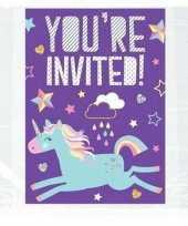 Unicorn kinderfeest uitnodigingen set van 8 10131603
