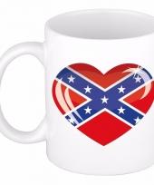 Us zuidelijke staten vlag hartje koffiemok 300 ml