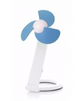 Usb bureau ventilator wit blauw 22 cm