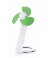 Usb bureau ventilator wit groen 22 cm