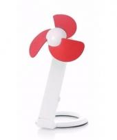 Usb bureau ventilator wit rood 22 cm