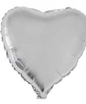 Valentijn hartjes ballon zilver 52 cm