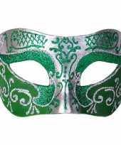 Venetiaanse maskers colombina groen zilver glitters
