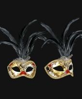 Venetiaanse oogmasker met zwarte veren