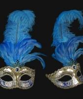 Venetiaanse oogmaskers met blauwe veren