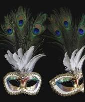 Venetiaanse oogmaskers met pauw veren